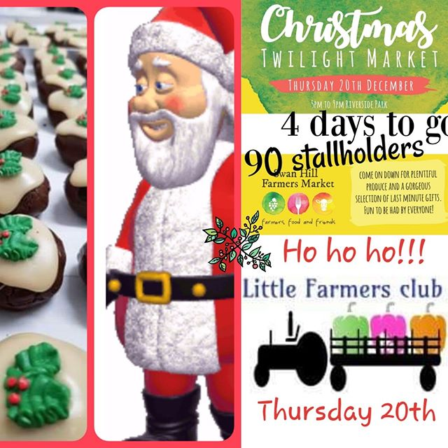 Merry Christmas 🎅🎄from all of us 💕🌟💕 With our Christmas Twilight Market less than a week away, the excitement & Christmas cheer is building 🎄🎶🌟🎄🎅 And at 5pm on the 20th December, the fun begins 🎄🎅🎄 🎅 Santa is going to do something special this year and walk around the market with his 'Santa's Helpers' so you can have some photos with him. We are a little bit excited that this is going to happen and it's going to be fabulous for everyone.........even Santa 🎅  With over 90 stallholders attending on the night, it's going to be an amazing market.  Remember to also bring a picnic rug/folding chairs, so you can relax and have a lovely evening enjoying the event we are putting together 🎅  We've put a fb post up with some safety guidelines, which we would like people to read. If we all know the rules and how to be safe and act safe, then this market is going to be amazing.  See you there 🎅 🎄