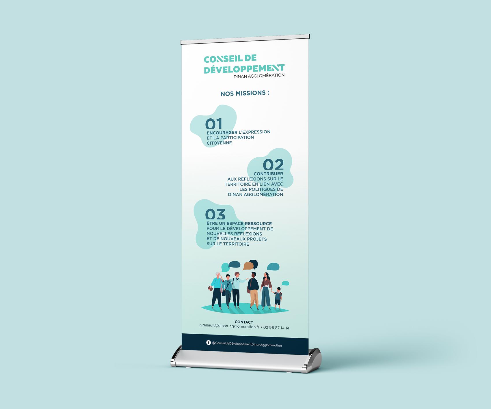 """Création d'un kakémono """"institutionnel"""" destiné à être installé à l'entrée de la salle lors de la Soirée Débat. Intérêt : informer sur les missions du Conseil de Développement Économique."""
