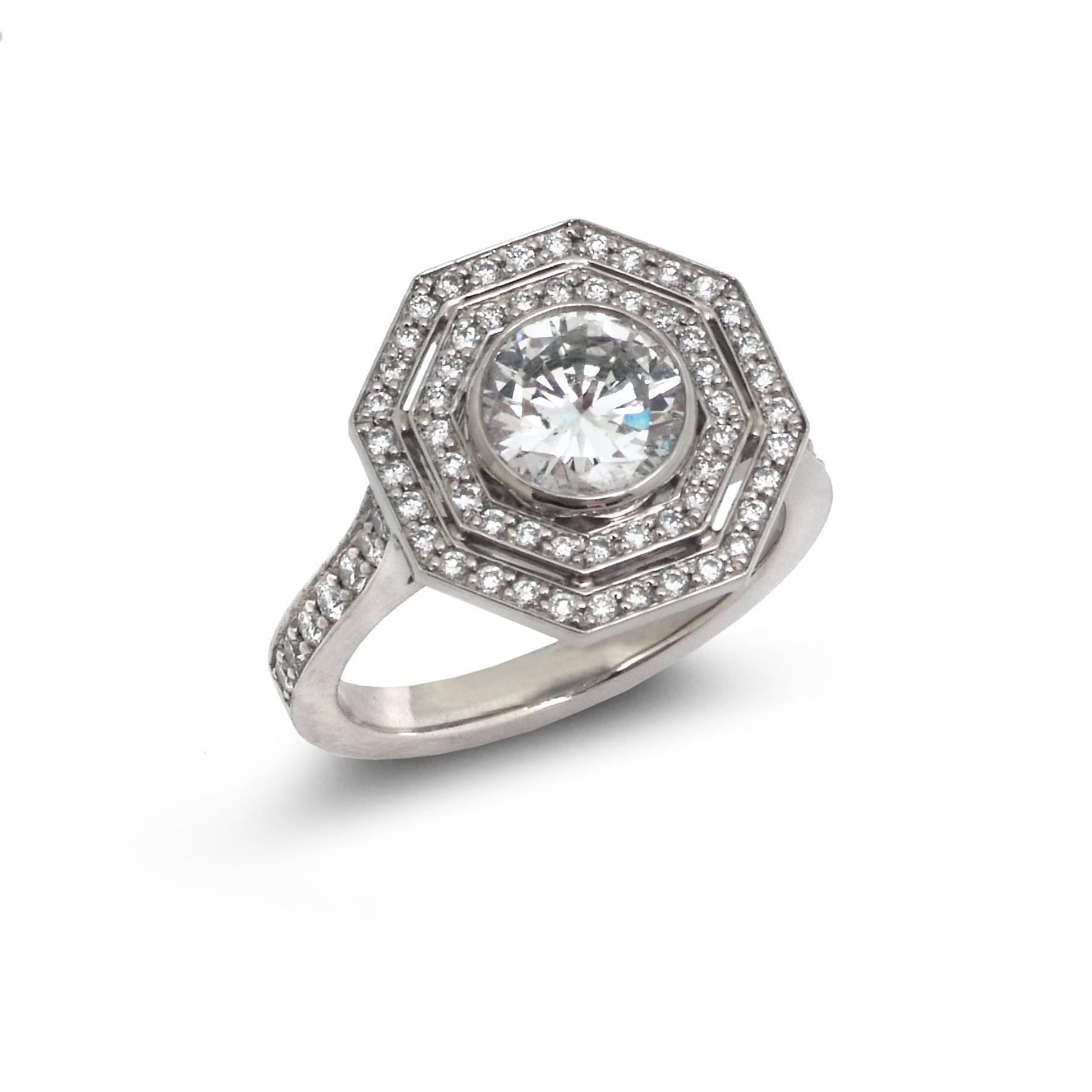 Octagonal diamond target ring top view