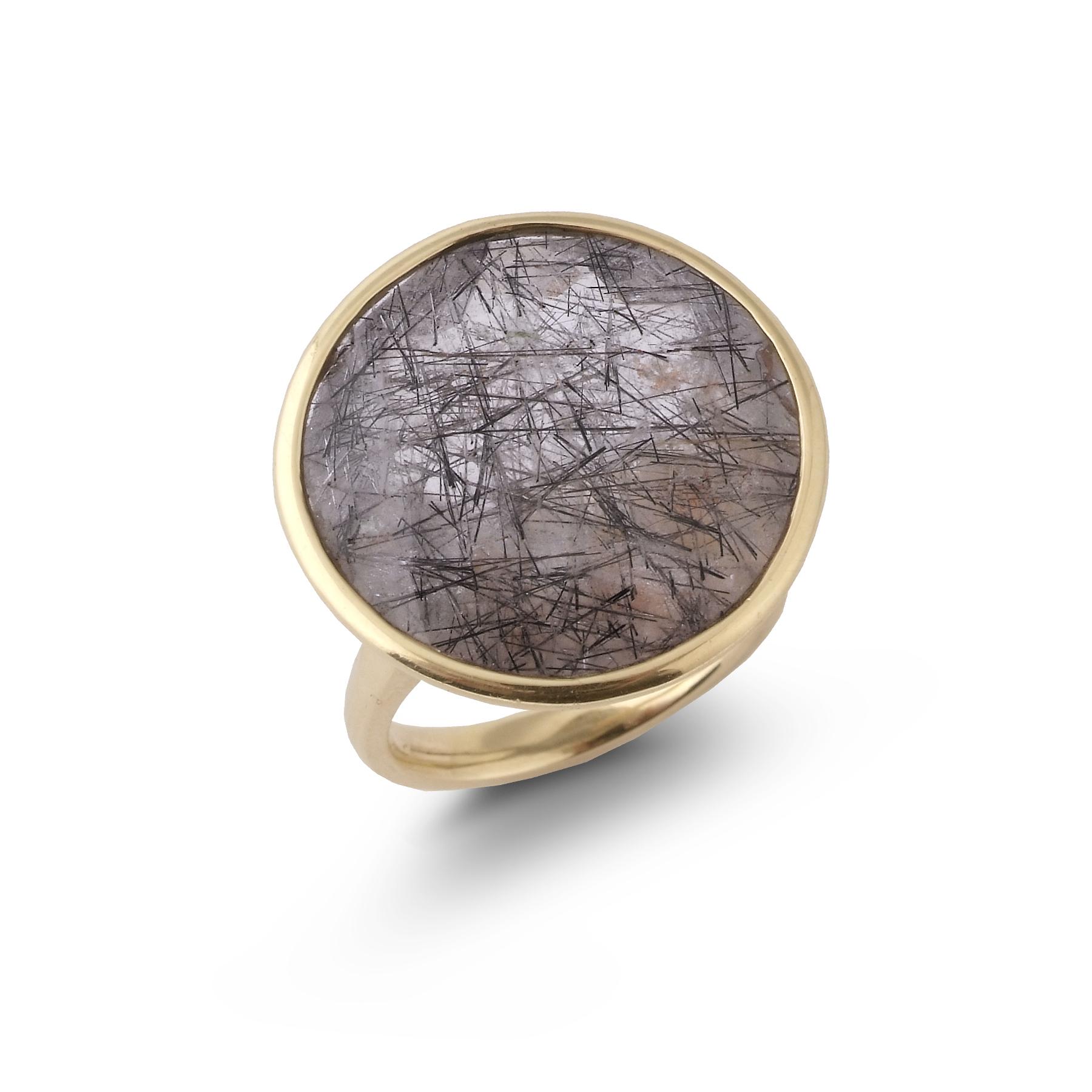 Sagenitic quartz satellite ring