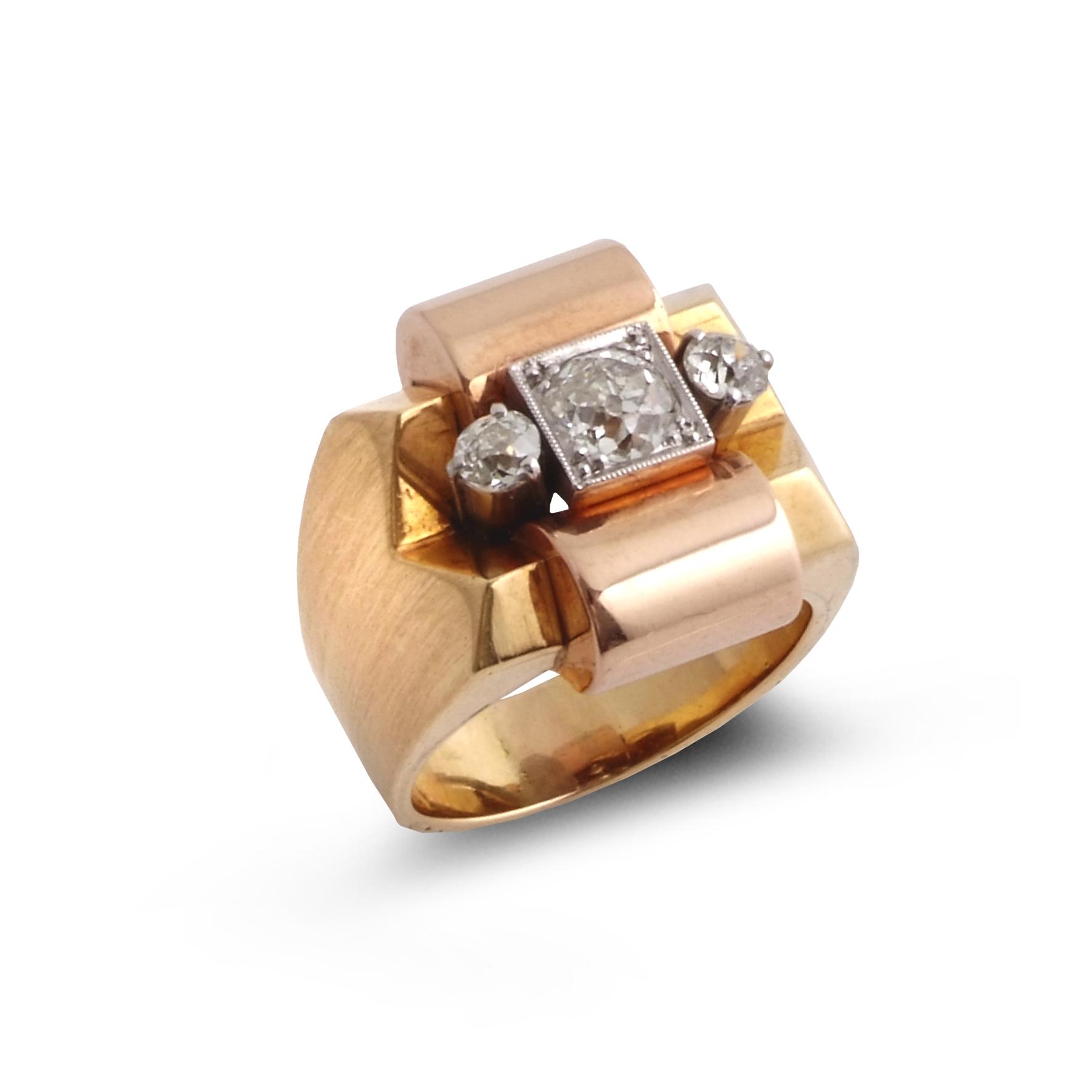 1950s three-stone diamond geometric ring
