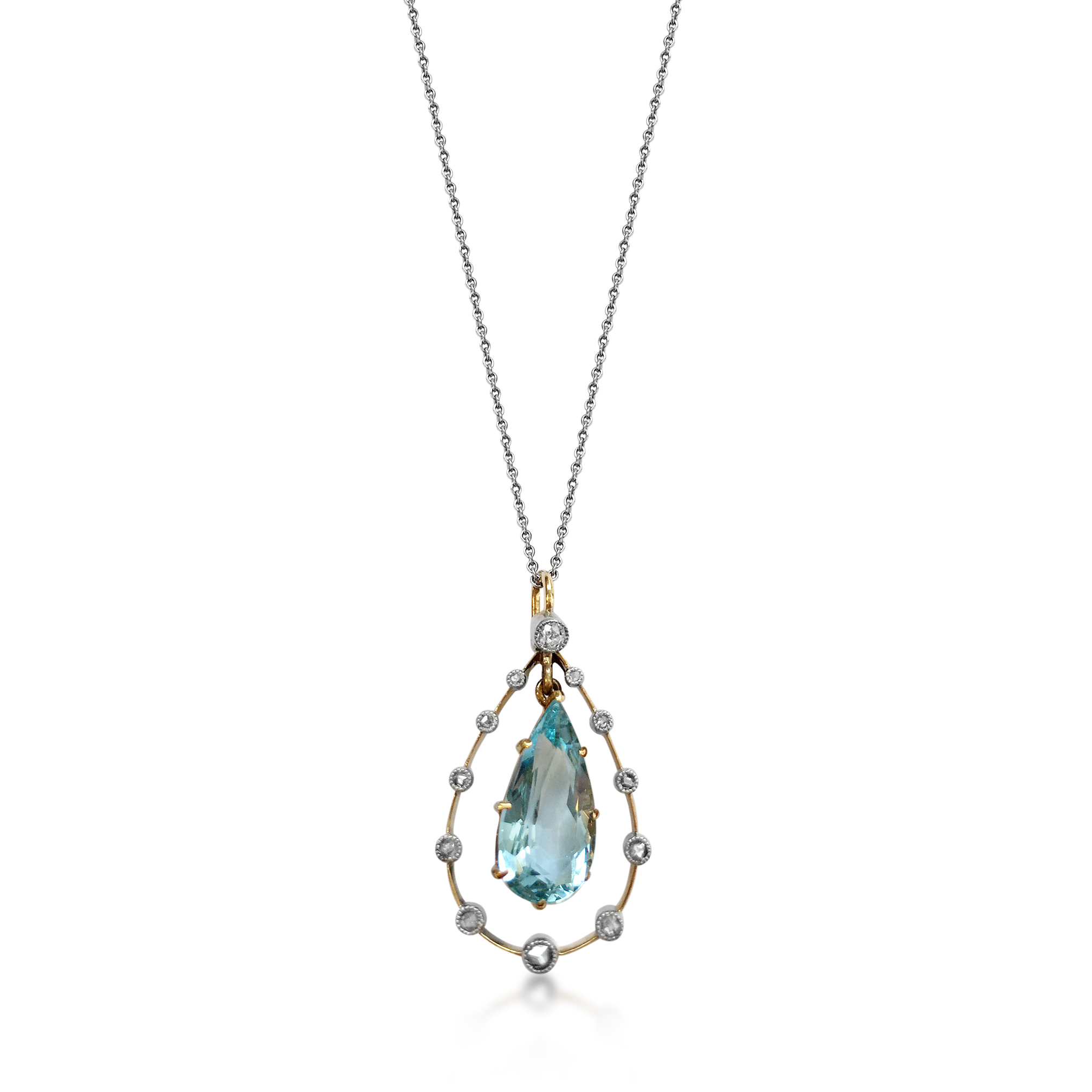 Antique pear-shape aquamarine and diamond pendant