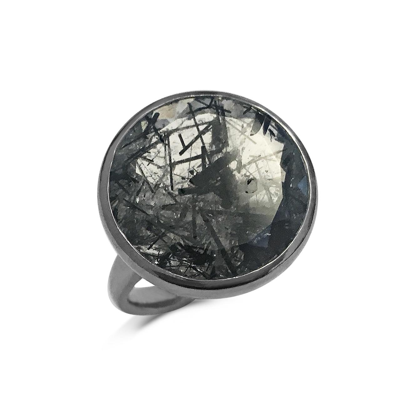 Sagenitic quartz satellite ring top view