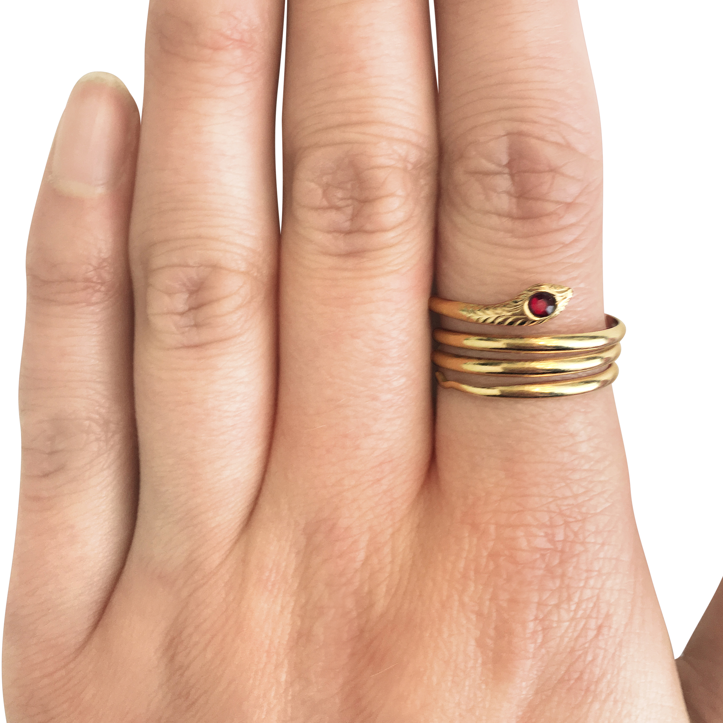 Vintage-9ct-yellow-gold-snake-coil-ring with-garnet-set head-SN154-2.jpg