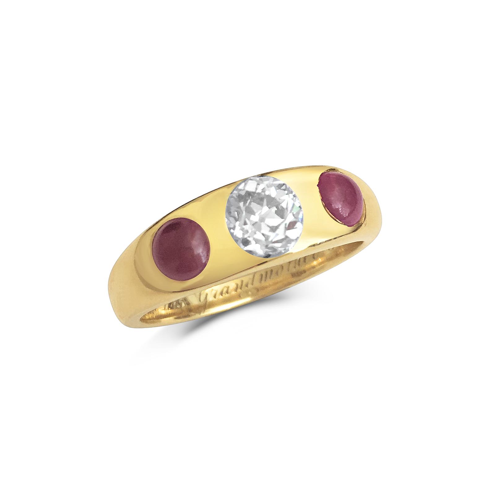 Antique diamond & ruby three-stone gypsy ring