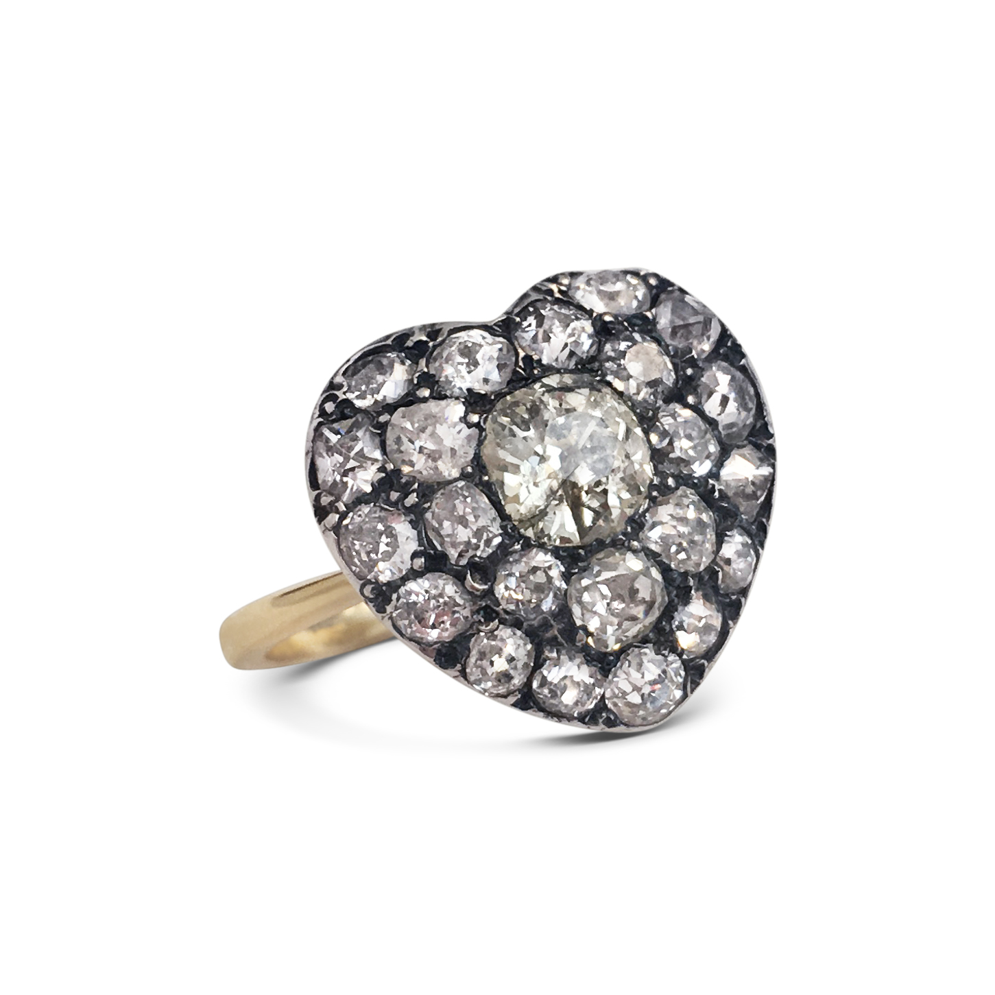 Old-cut diamond antique style heart-shaped cluster ring