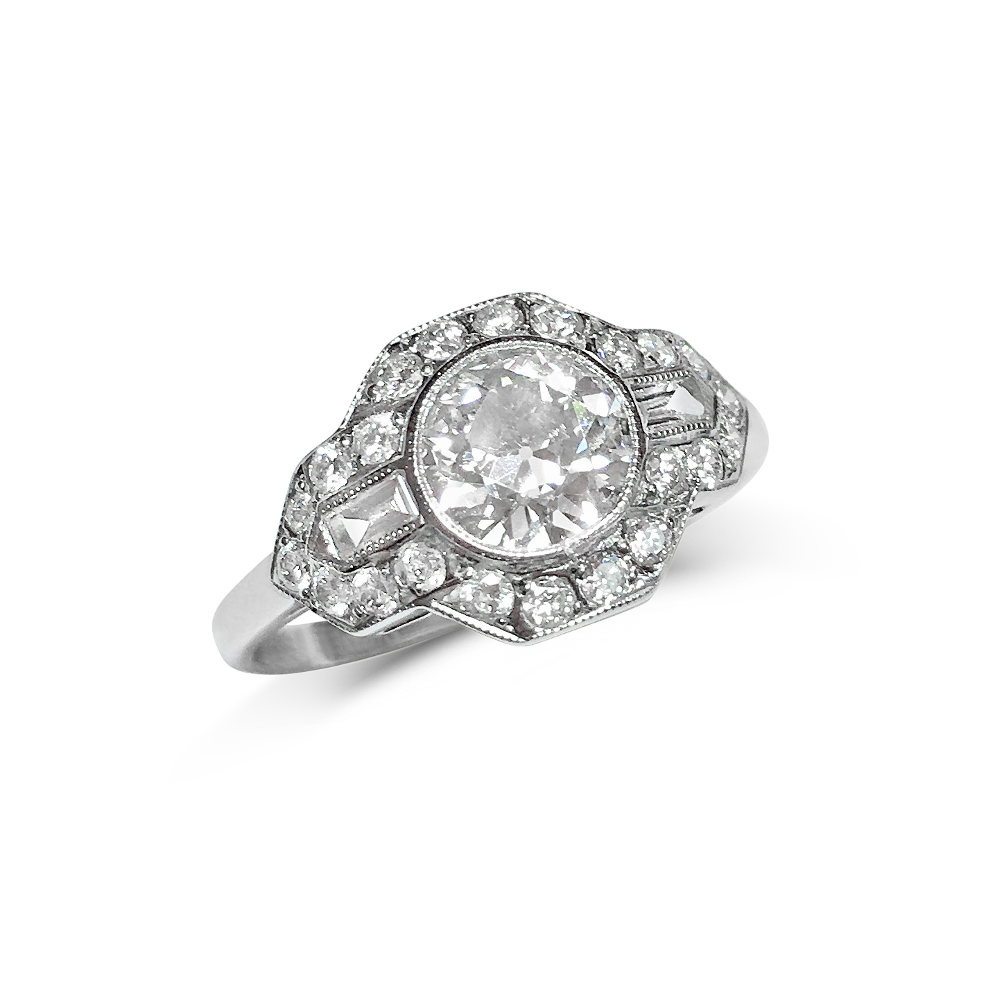 transitional & baguette-cut diamond ring front
