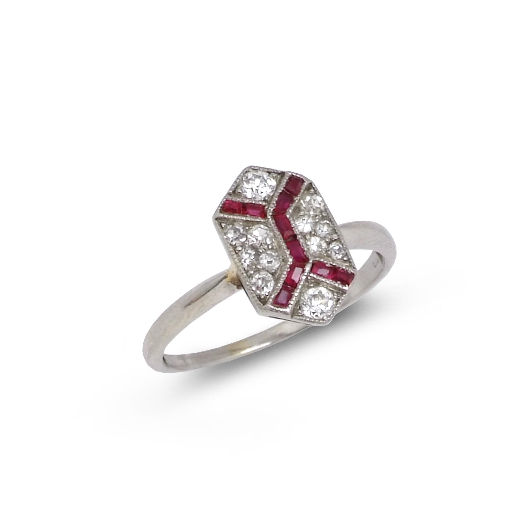 Art Deco Ruby & Diamond Pinkie Ring