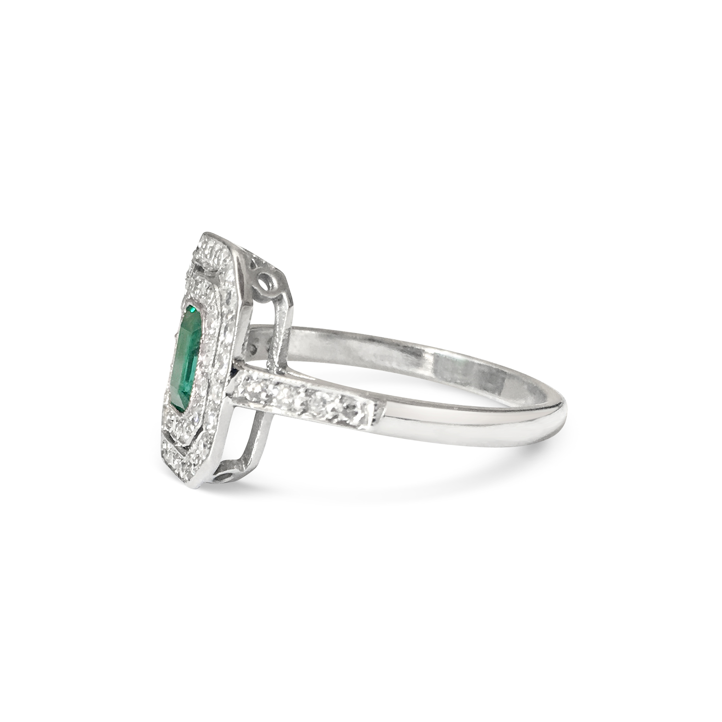 emerald and diamond two-row ring side