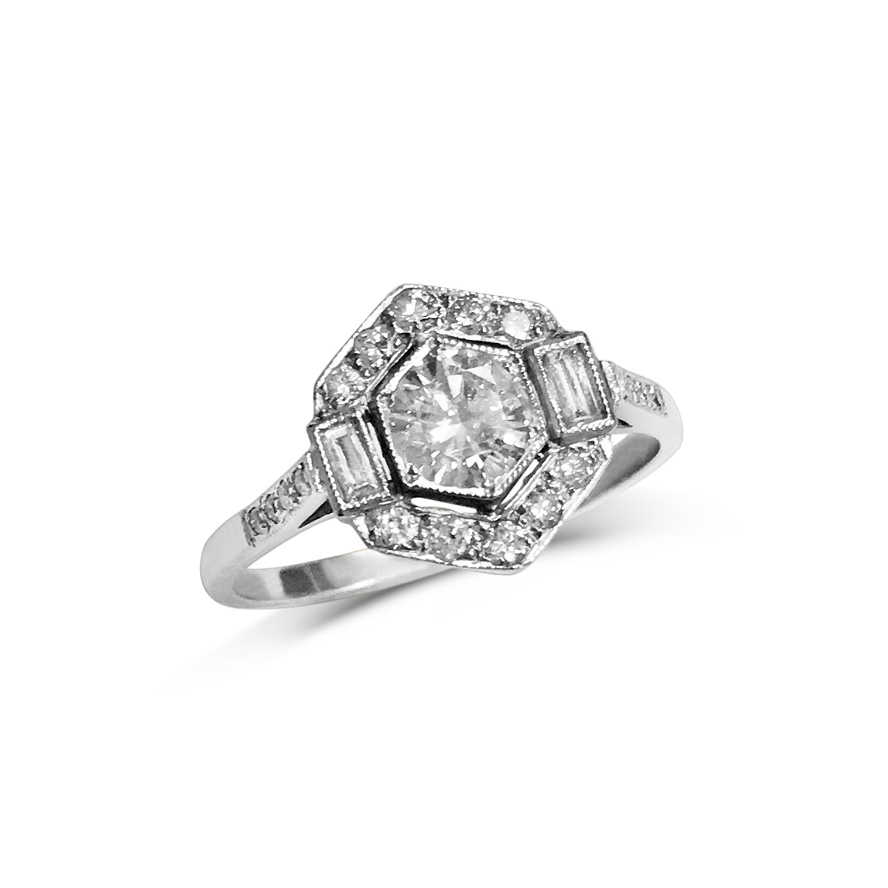 antique style hexagonal brilliant and baguette-cut diamond single row cluster ring front