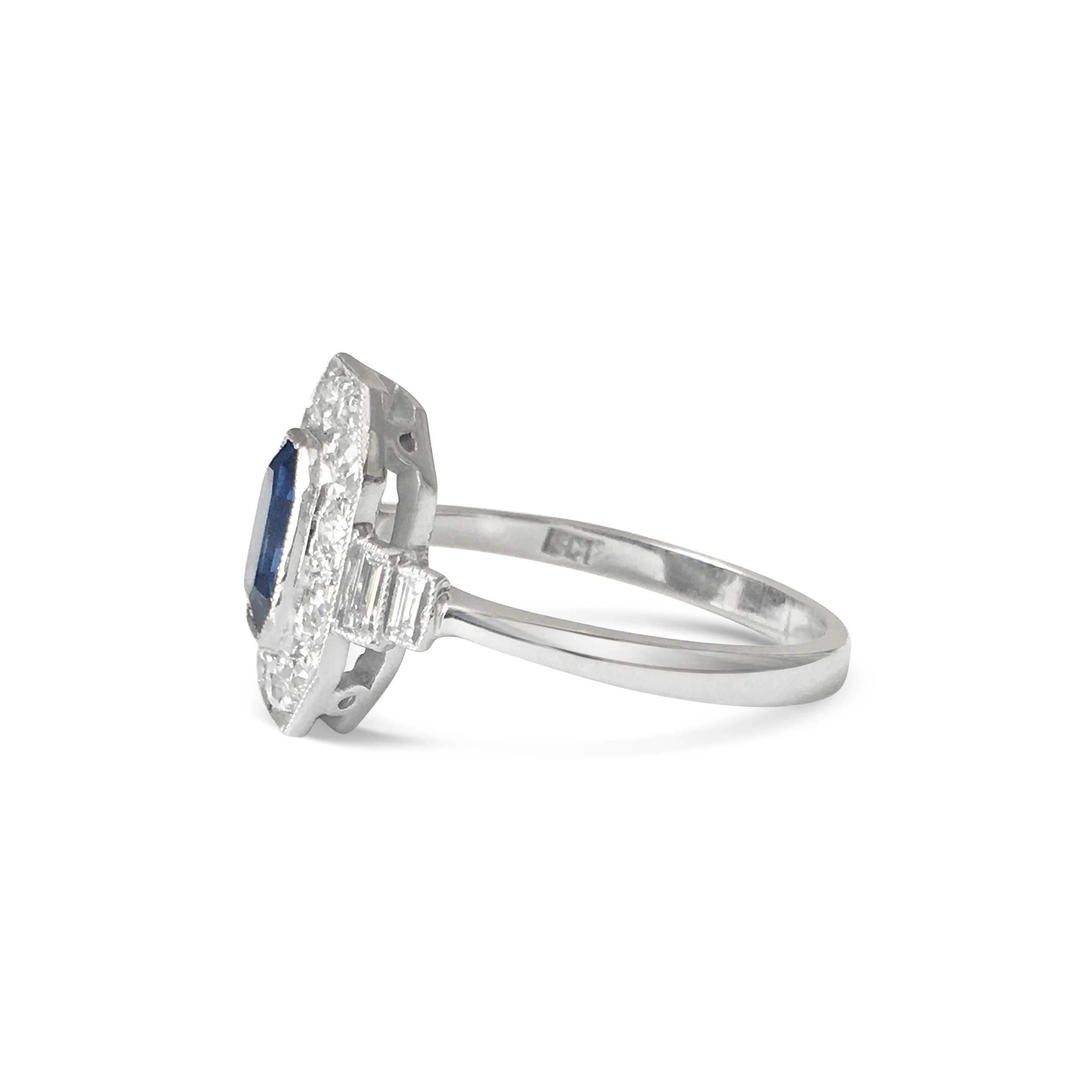 sapphire & diamond cut-cornered ring side