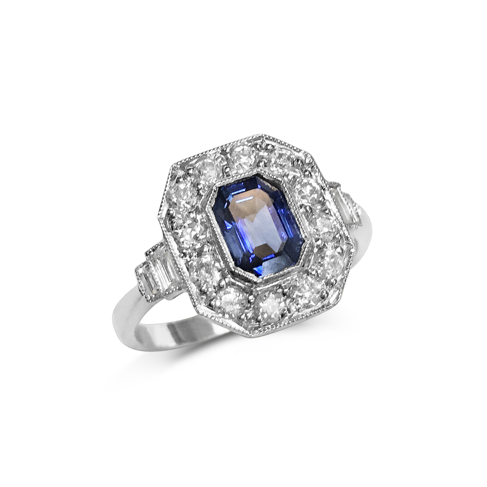 Sapphire & diamond cut-cornered ring front