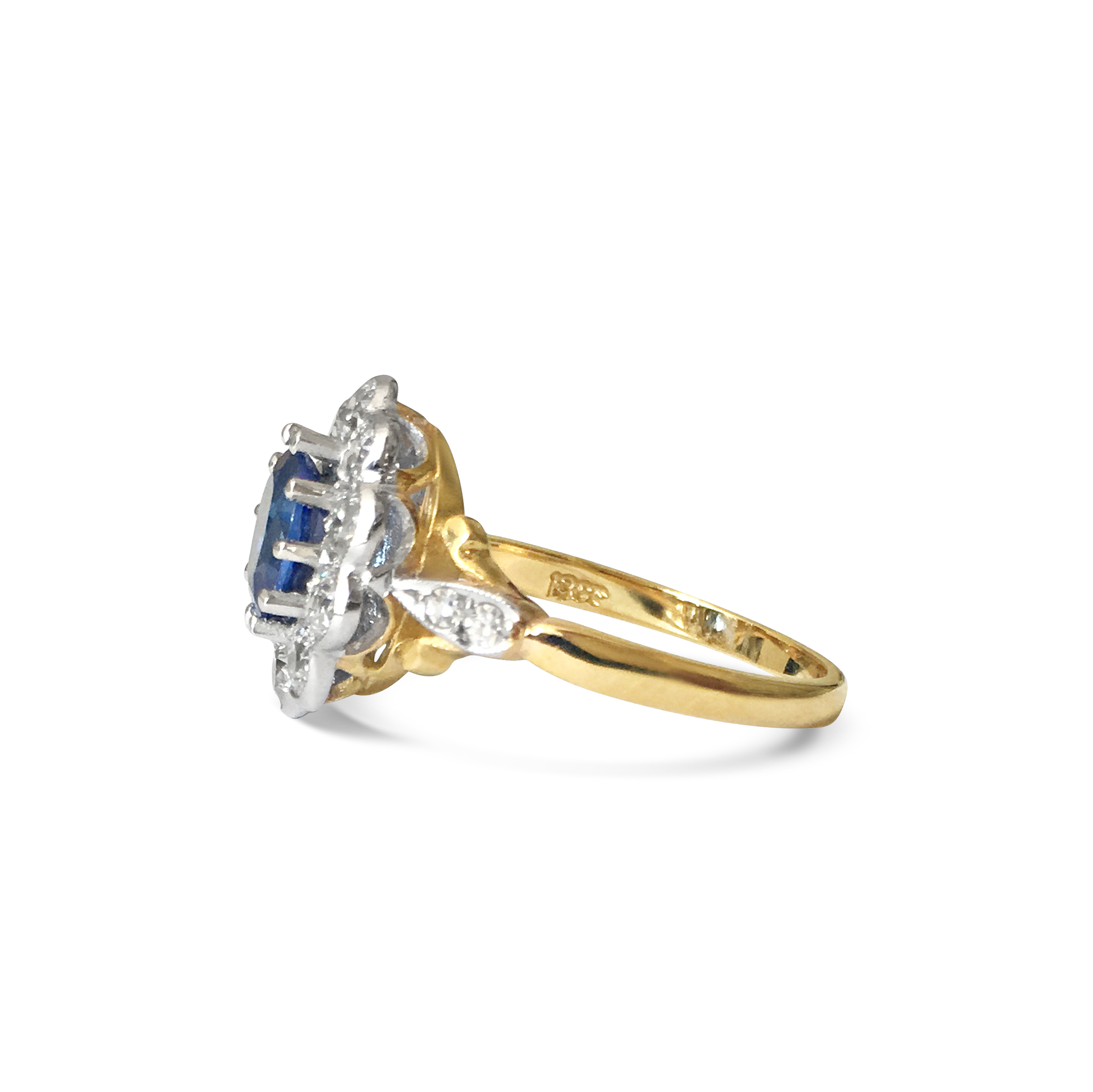 sapphire & diamond oval cluster ring side