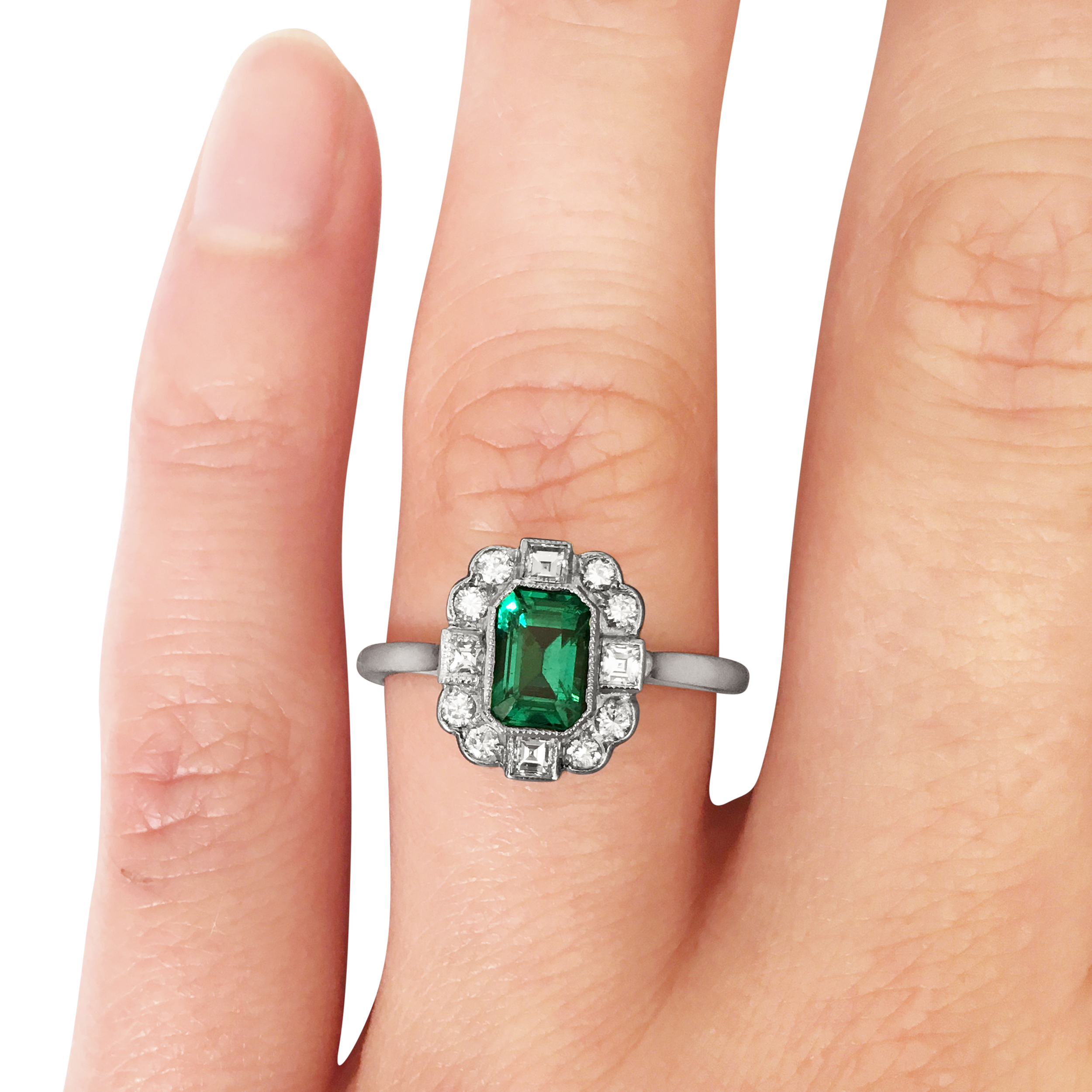 emerald and diamond four points ring hand shot