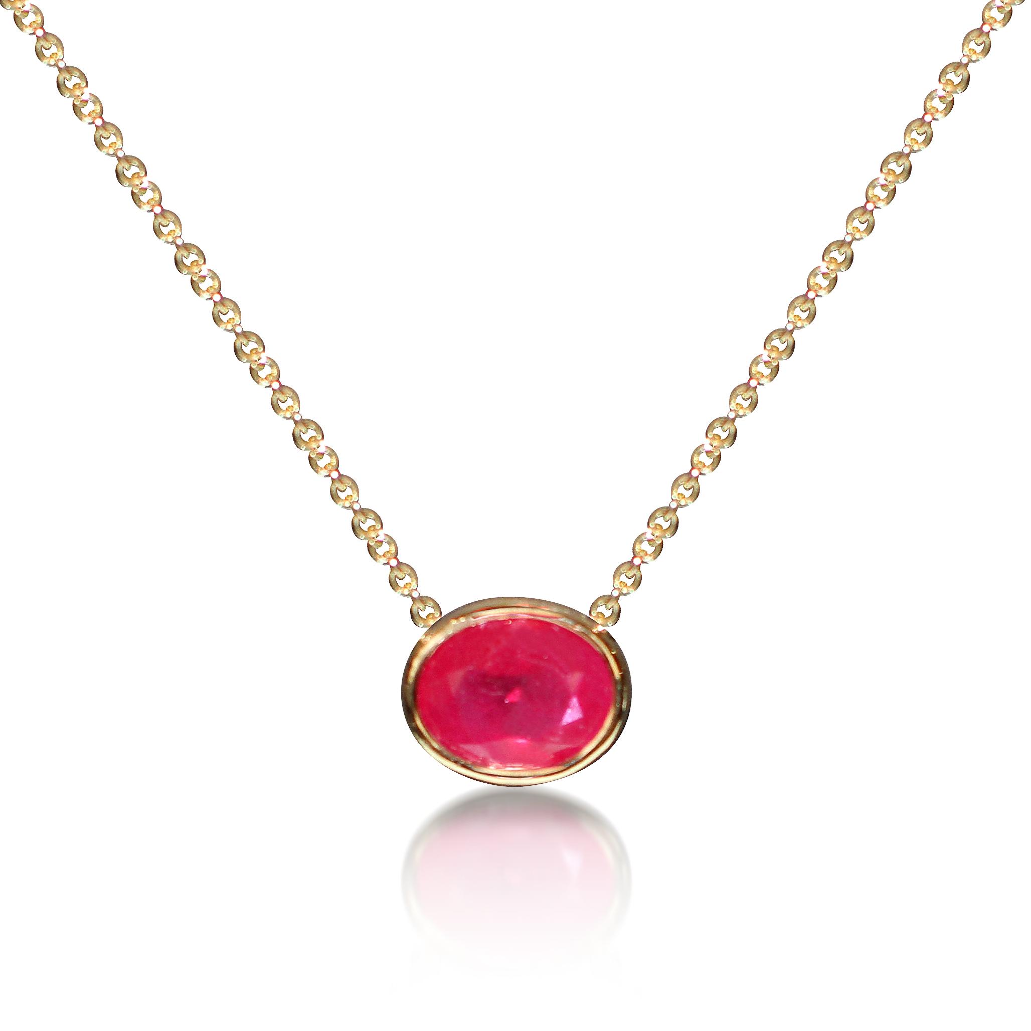 Ruby single stone necklace