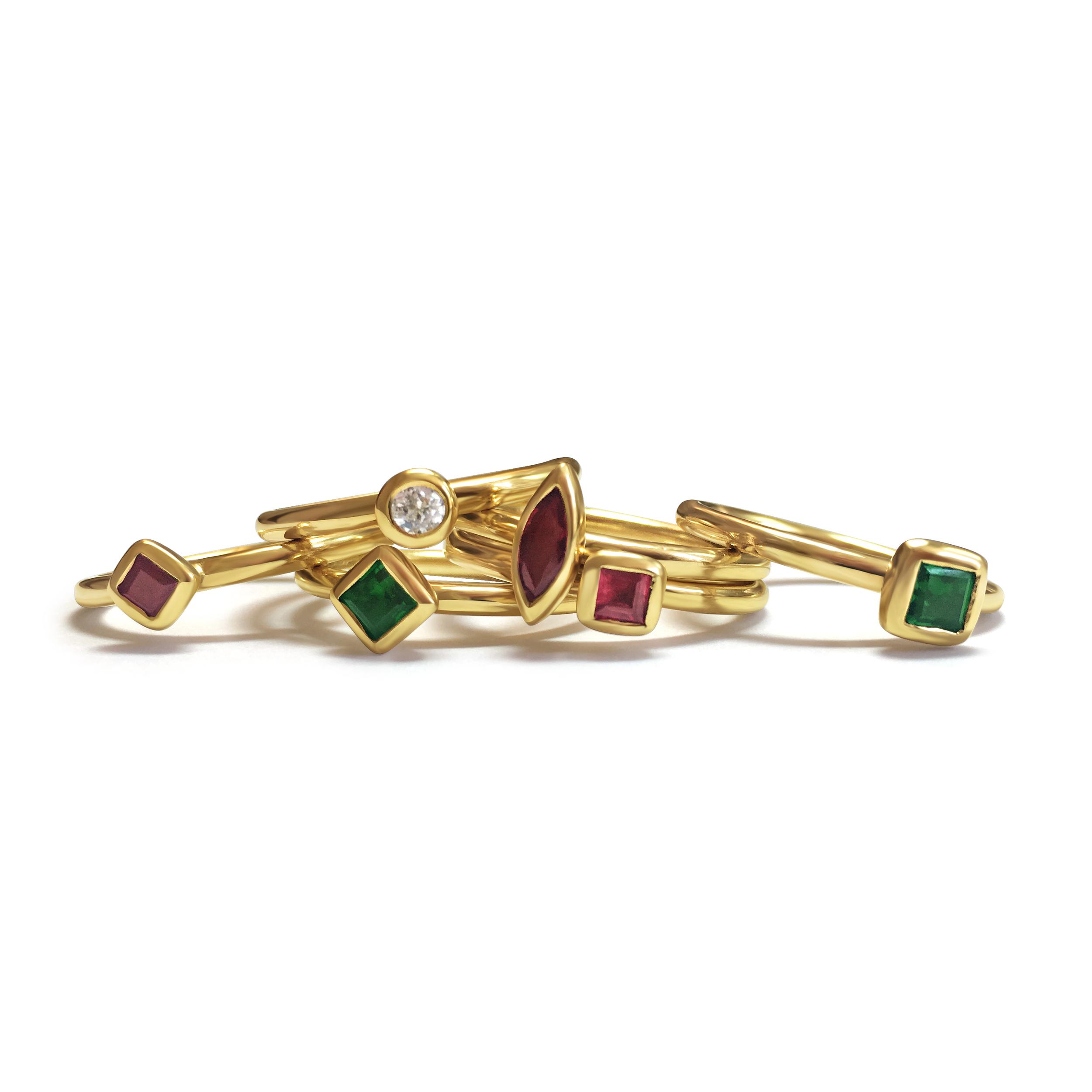 Green tourmaline stacking rings