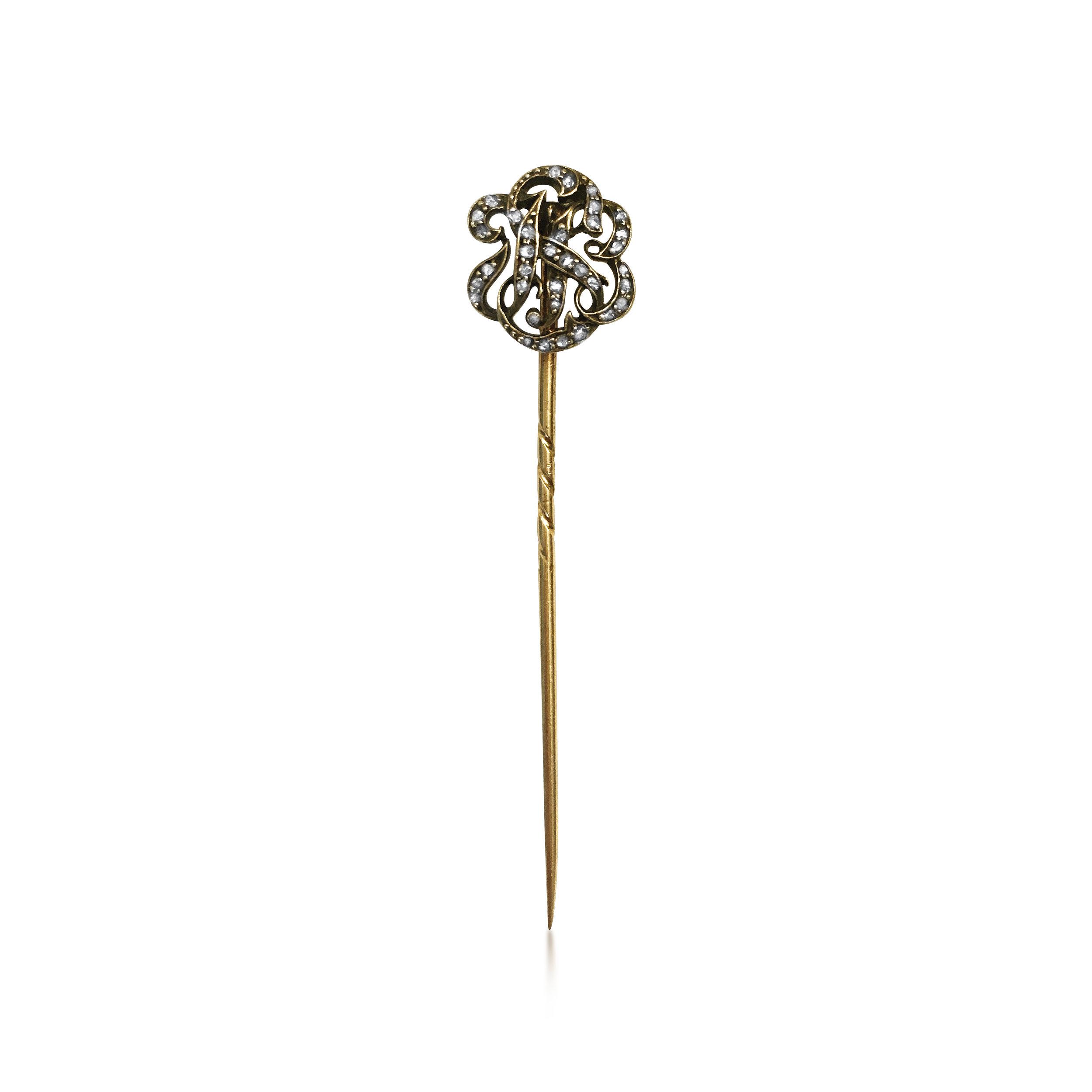 Antique diamond initialled stickpin