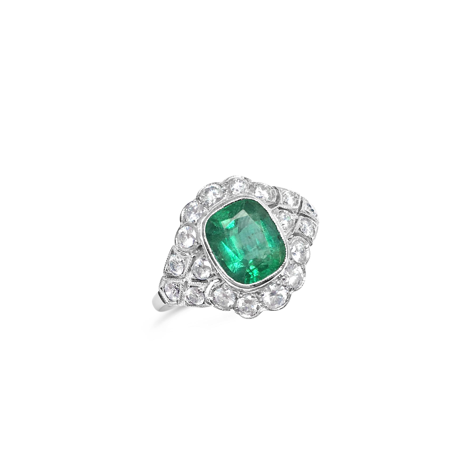 Cushion-cut Emerald ring