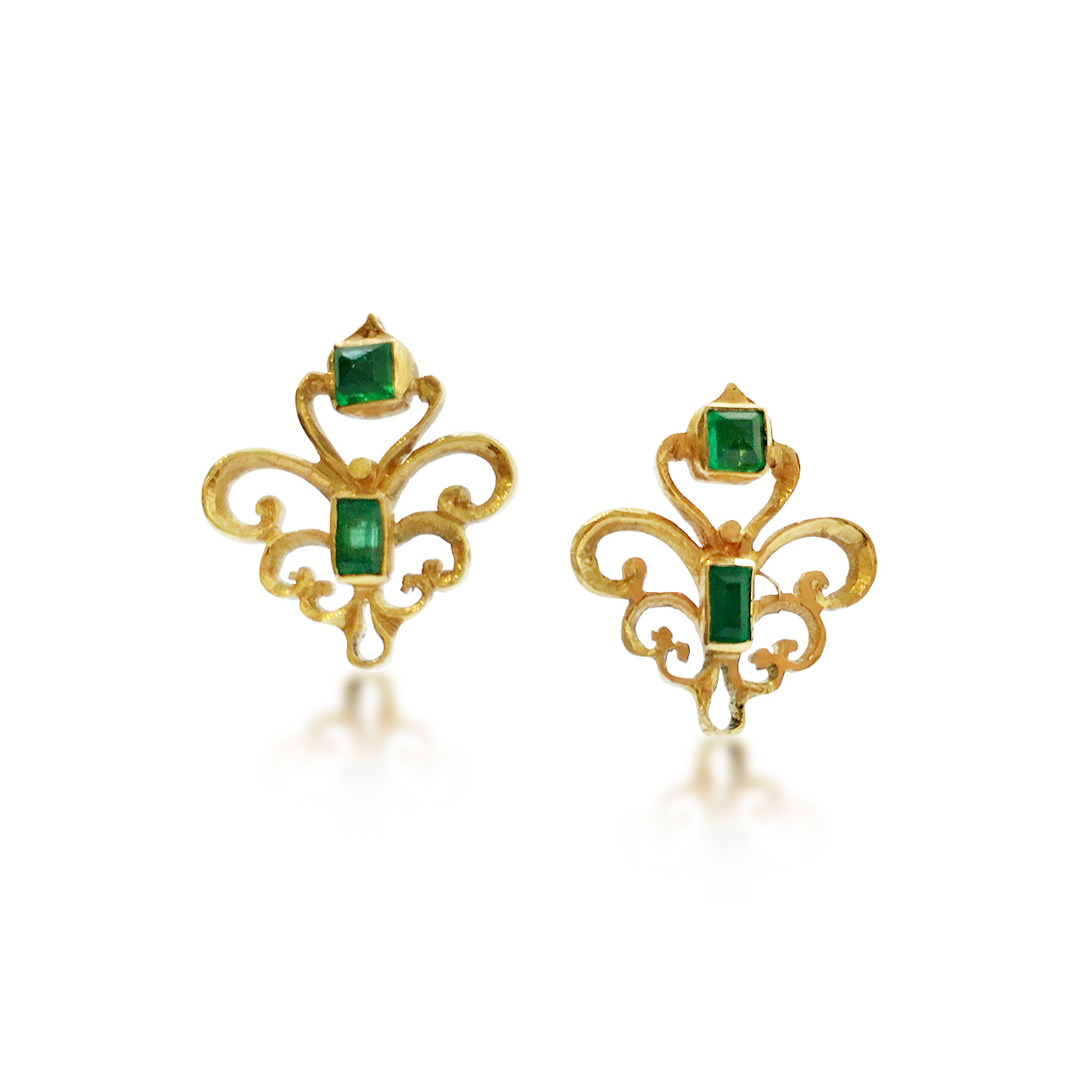 Emerald and Gold scroll Earrings