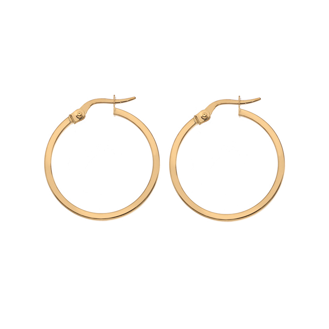 Yellow Gold Square Wire Hoop Earrings