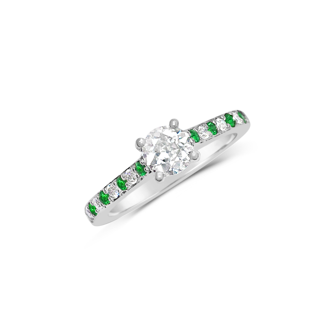 Diamond & Emerald Solitaire Engagement Ring