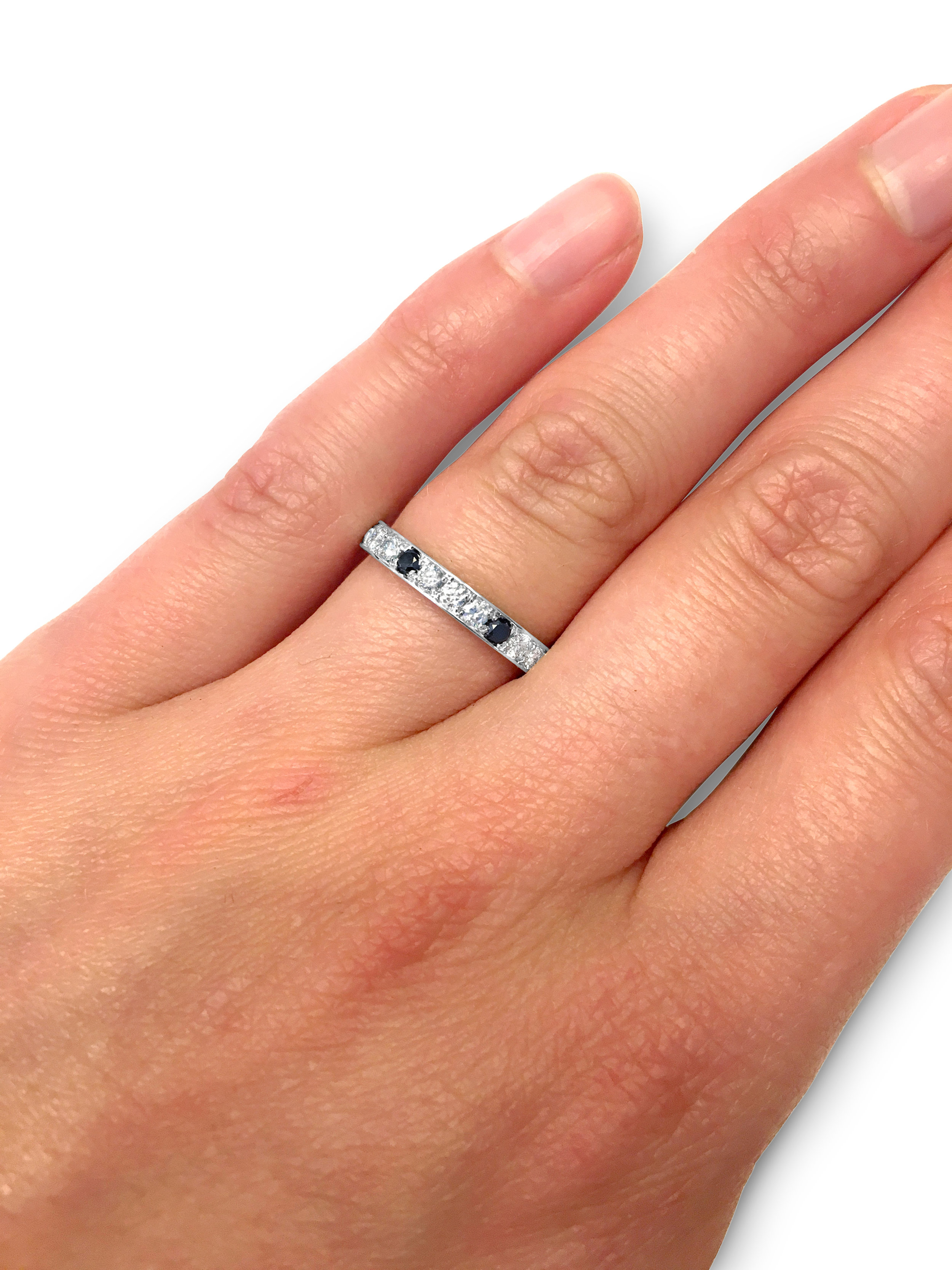Black and White Diamond Eternity Ring Hand Modelled
