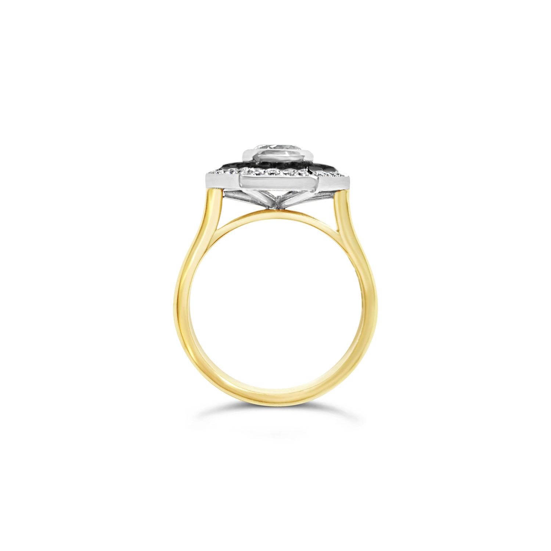 Bespoke Hexagonal Black & White Diamond Ring Side