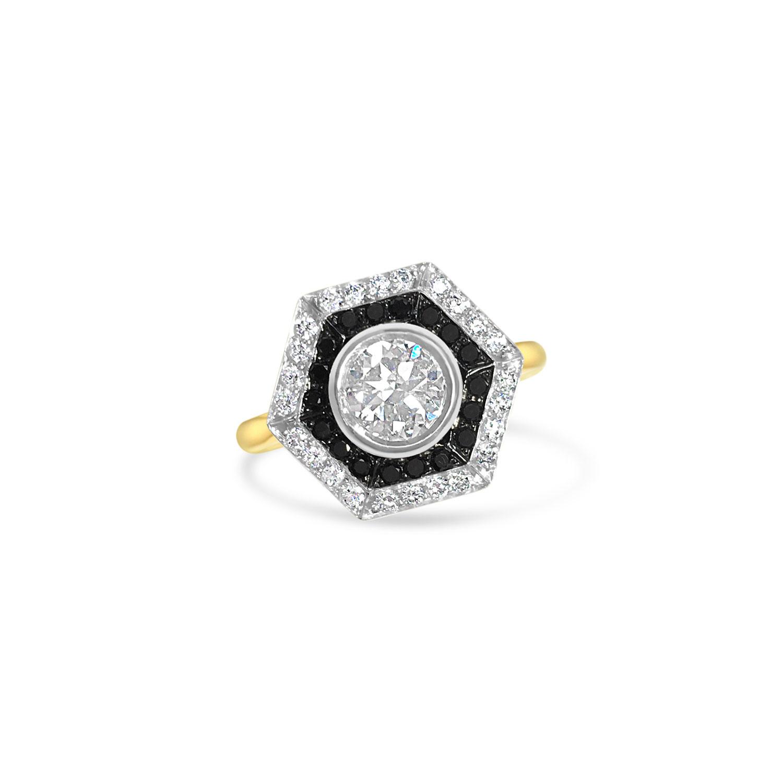Bespoke Hexagonal Black & White Diamond Ring Top