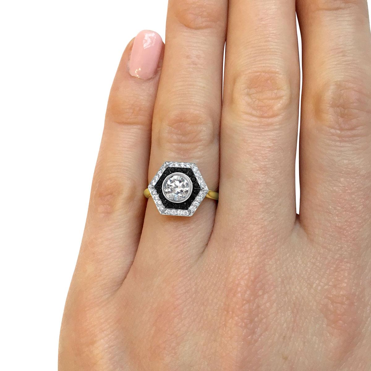Bespoke Hexagonal Black & White Diamond Ring Top Hand Modelled