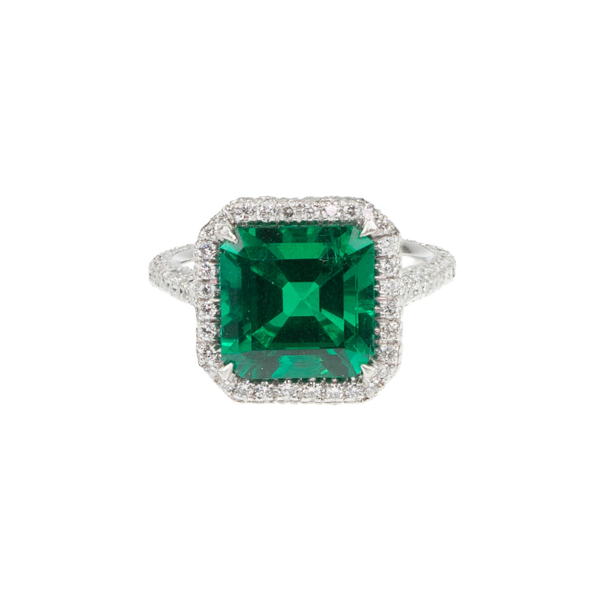 E merald & diamond microset ring