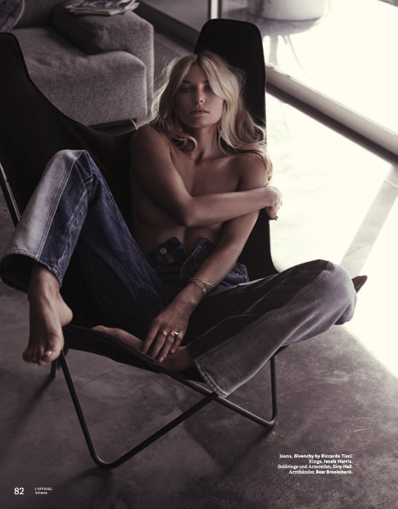 Jessica Hart, L'Officiel Switzerland April 2017 in Jeans