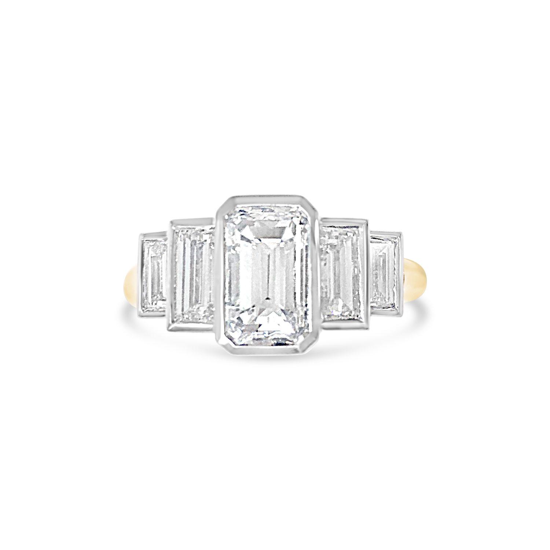 Bespoke emerald-cut diamond five-stone ring