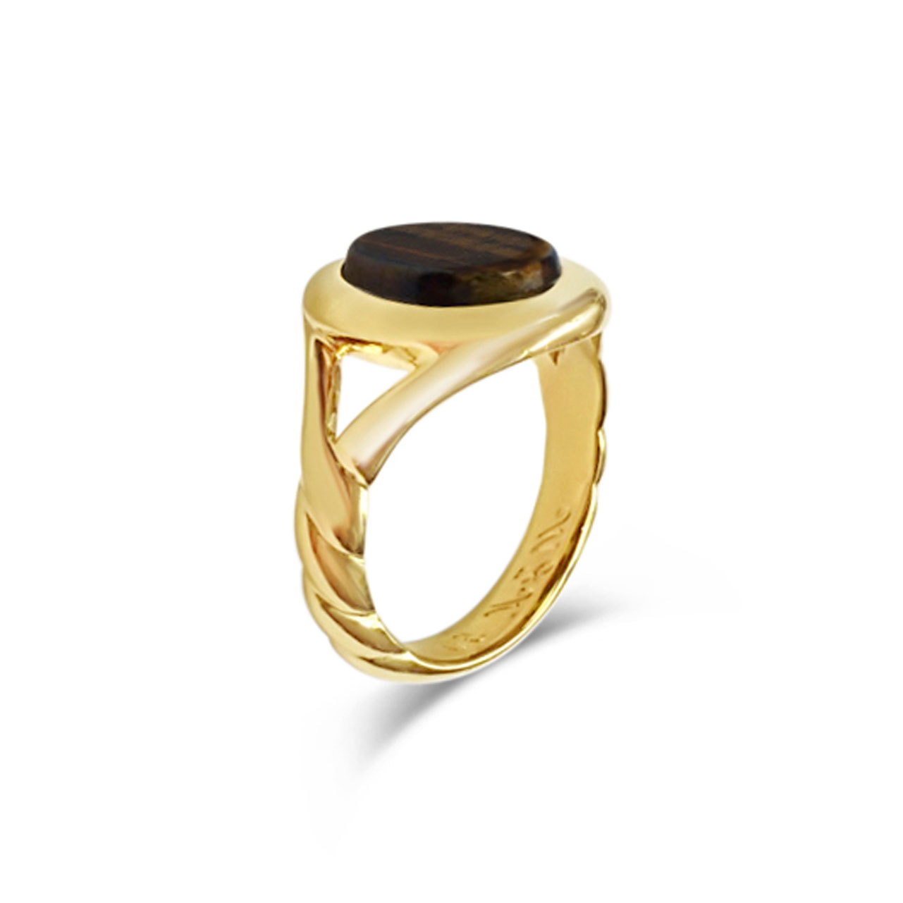 Tiger's eye and yellow gold signet ring side