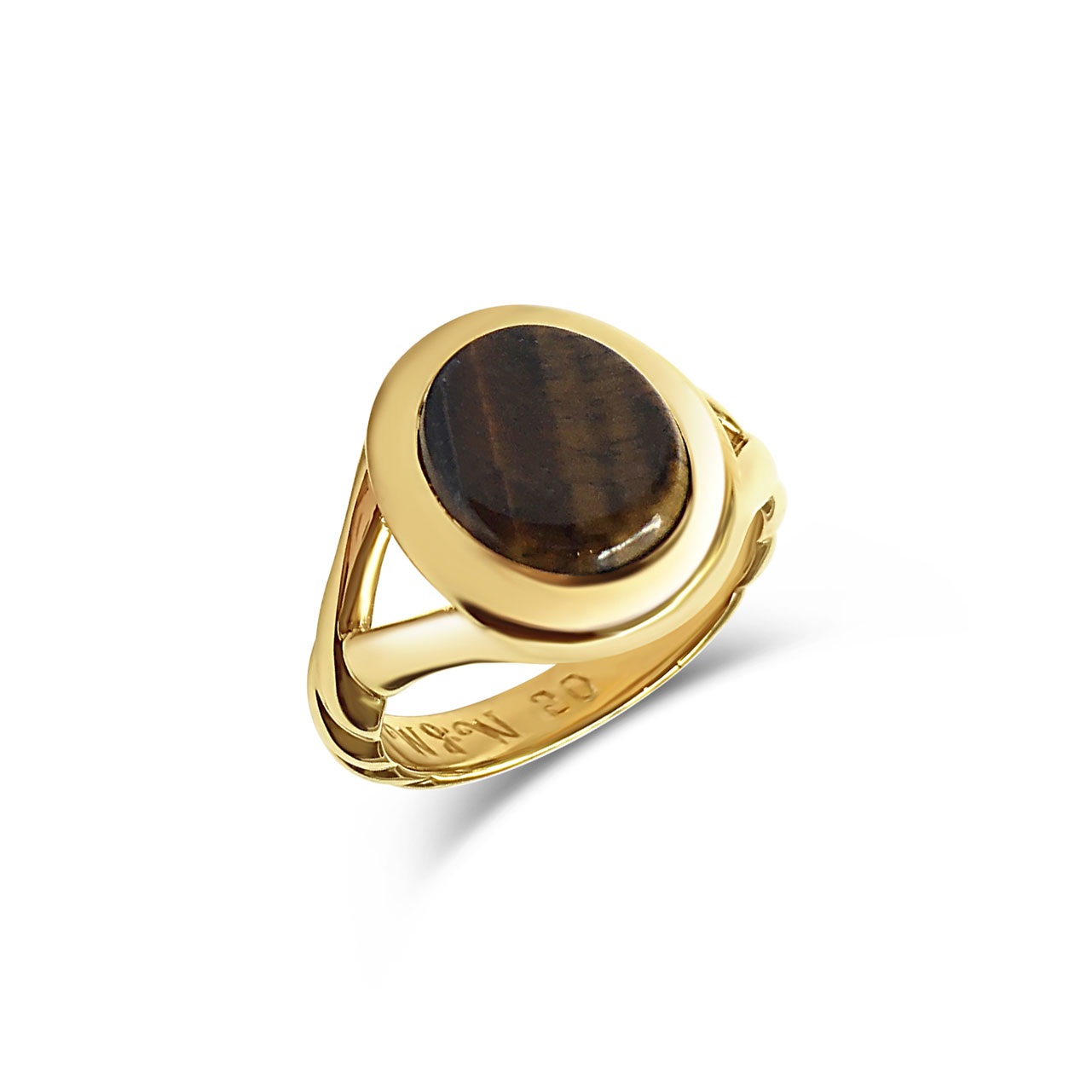 Tiger's eye and yellow gold signet ring