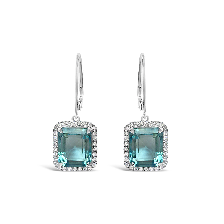Aquamarine and diamond drop earrings straight view
