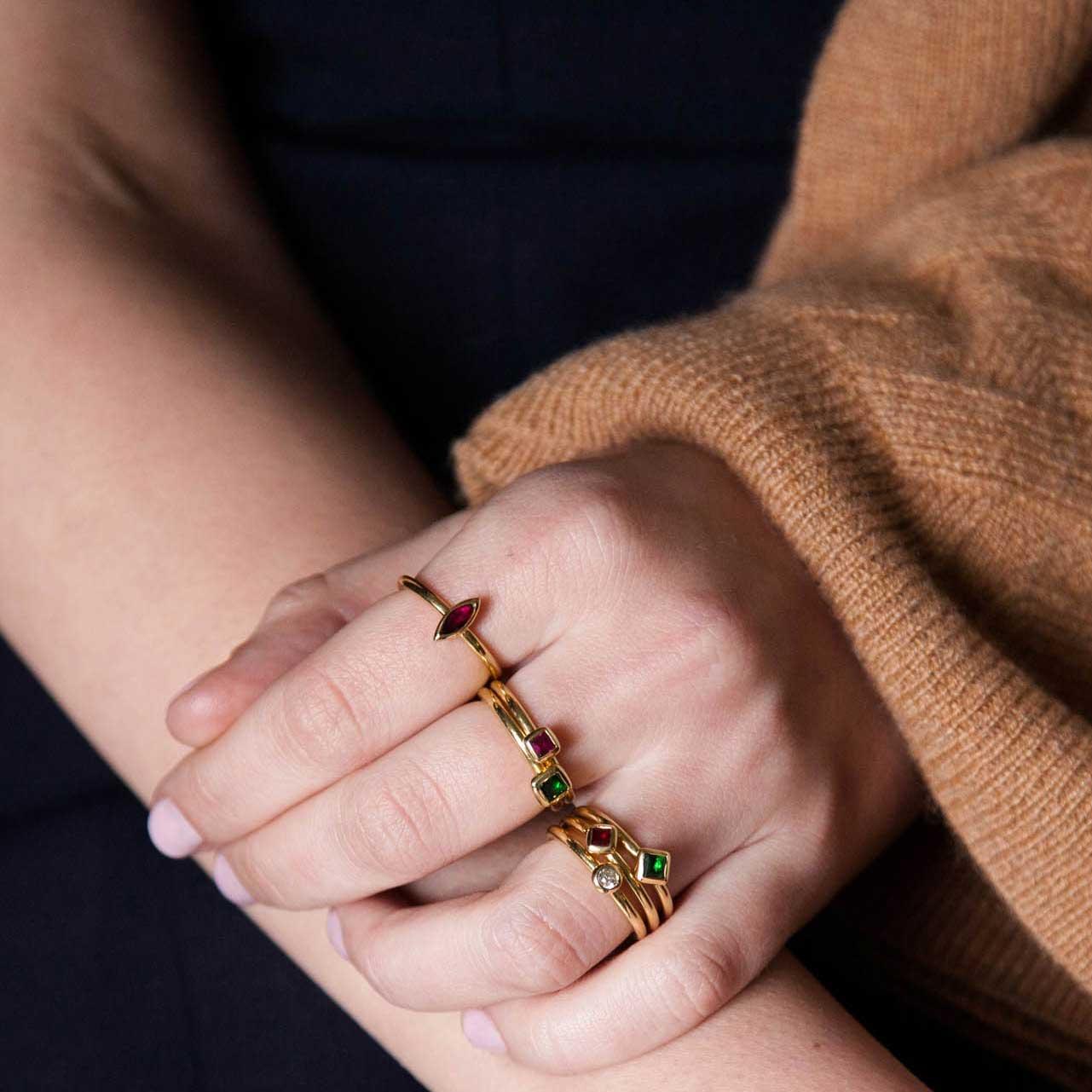 Green tourmaline stacking ring hand