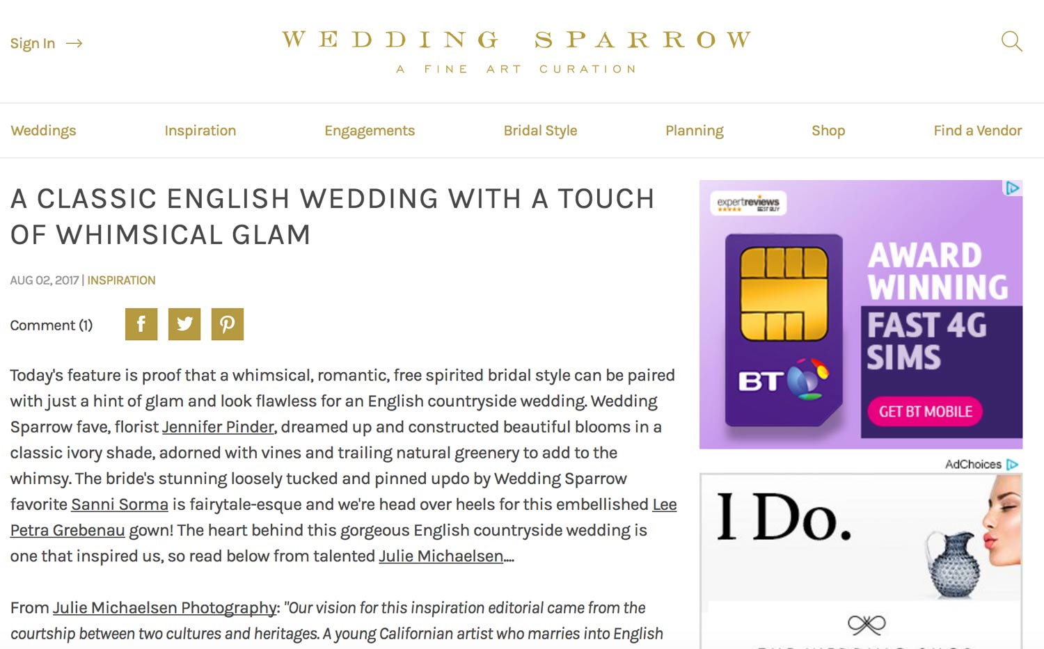 Wedding Sparrow website