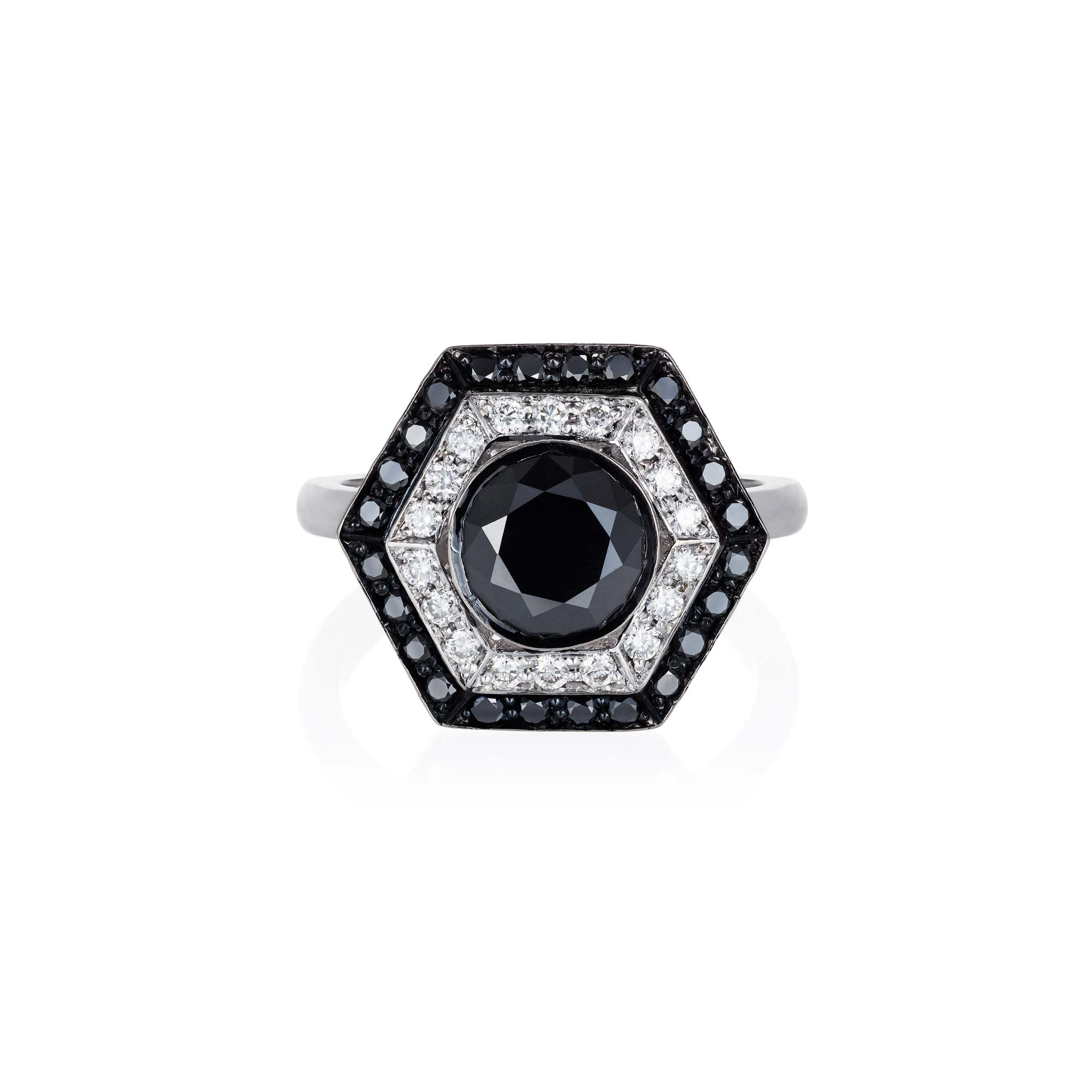 Black and white diamond ring top