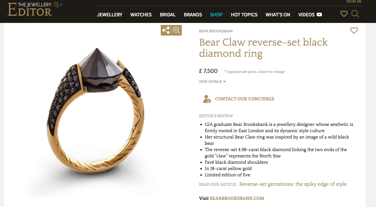 The Jewellery Editor Article Detail on Bear Claw Ring