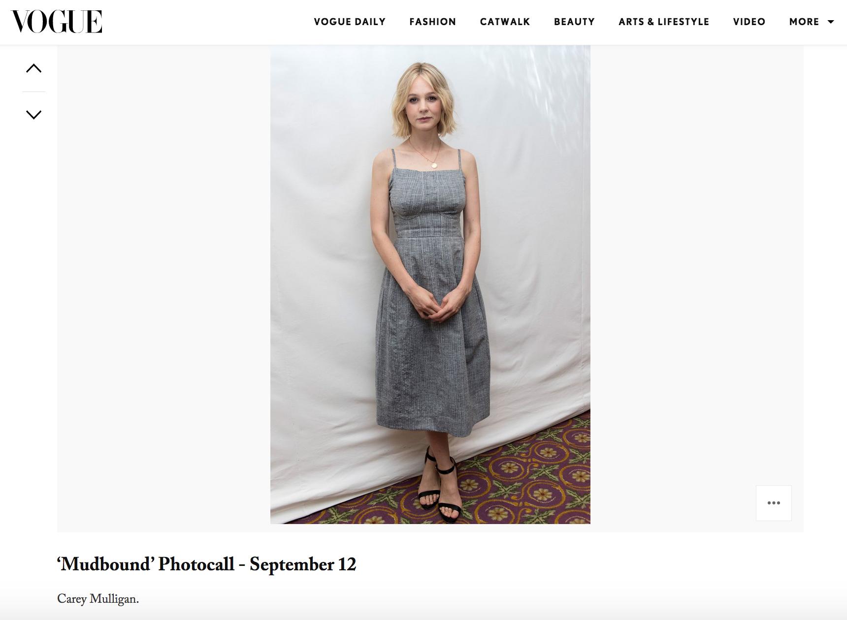 Vogue Online Press Carey Mulligan Mudbound Photocall TIFF in Toronto Fur & Claw pendant by Bear Brooksbank