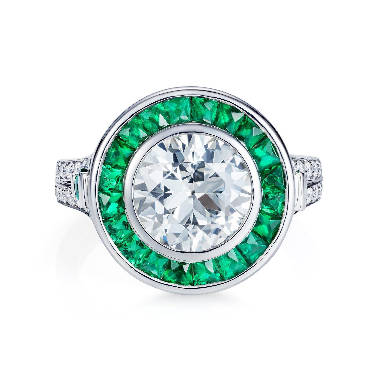 Bespoke emerald & diamond target ring