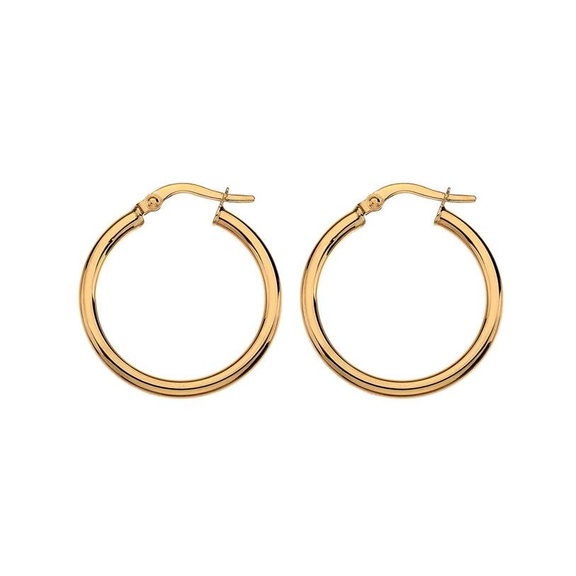 Large yellow gold hoop earrings