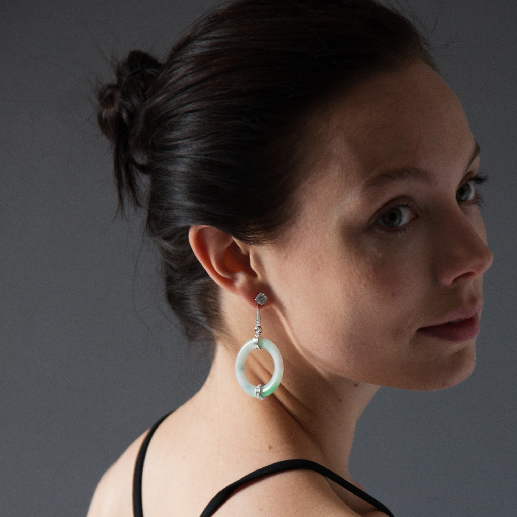 Jade disc drop earrings model shot 1