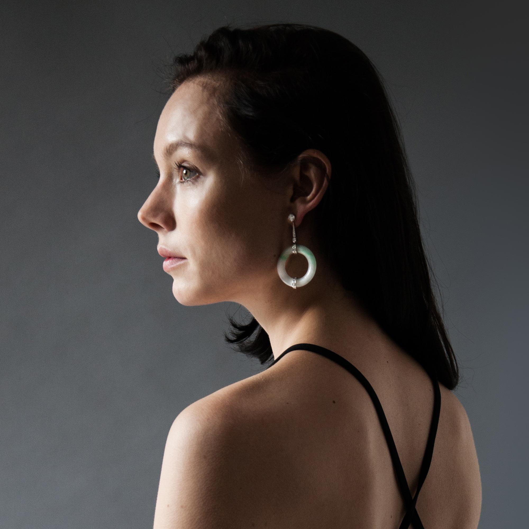 Jade disc drop earrings model shot 3