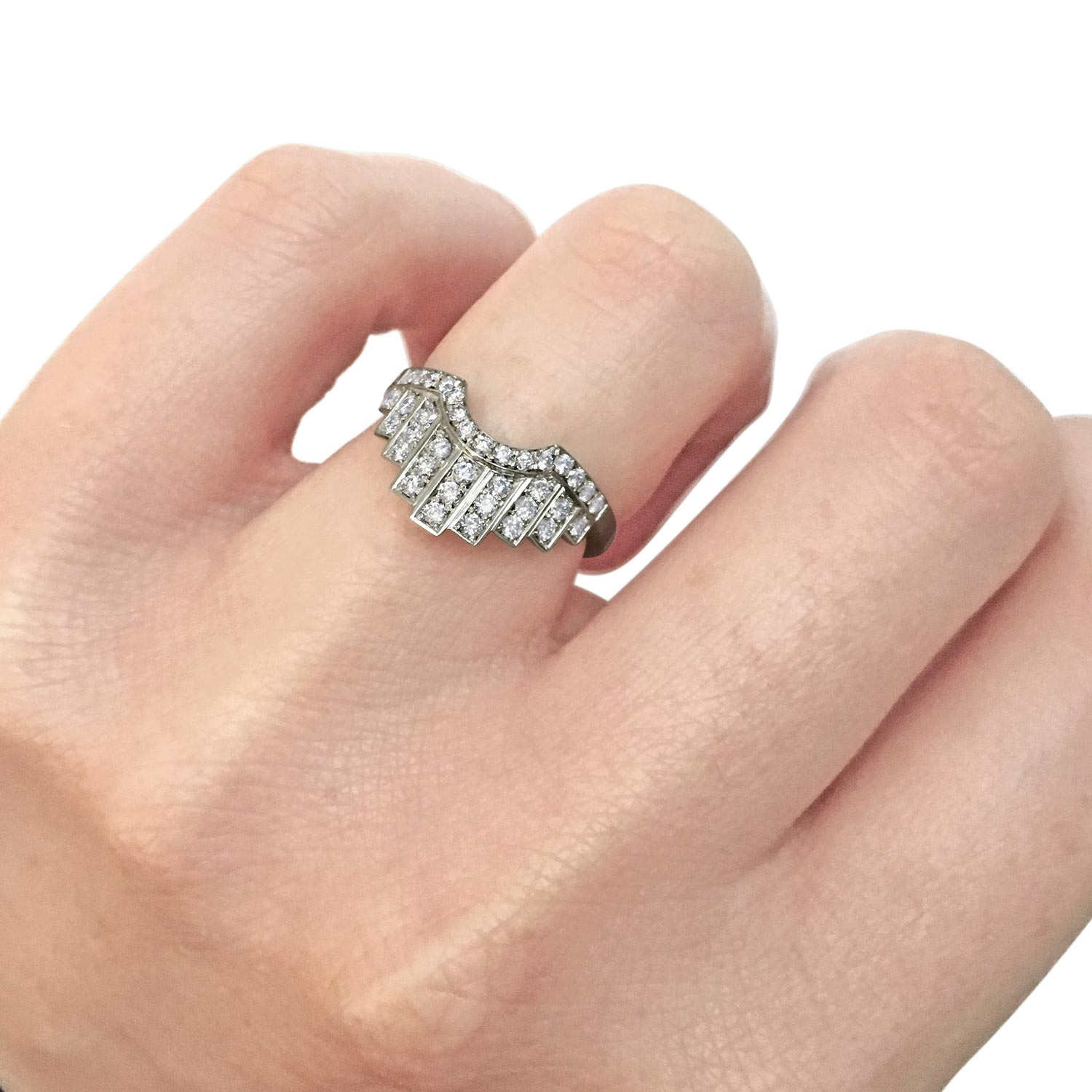 Bespoke fitted brilliant-cut diamond and platinum wedding ring