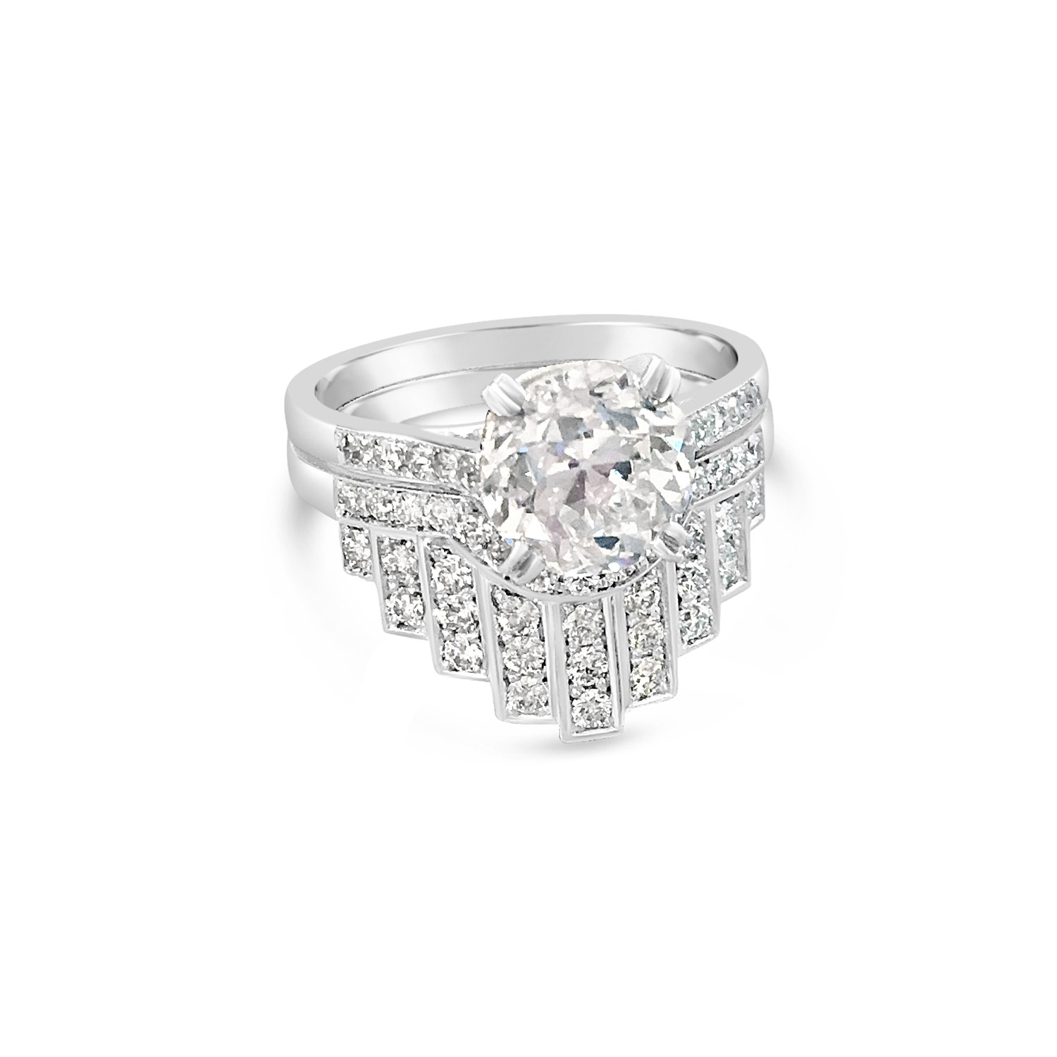 Bespoke fitted brilliant-cut diamond and platinum wedding ring front