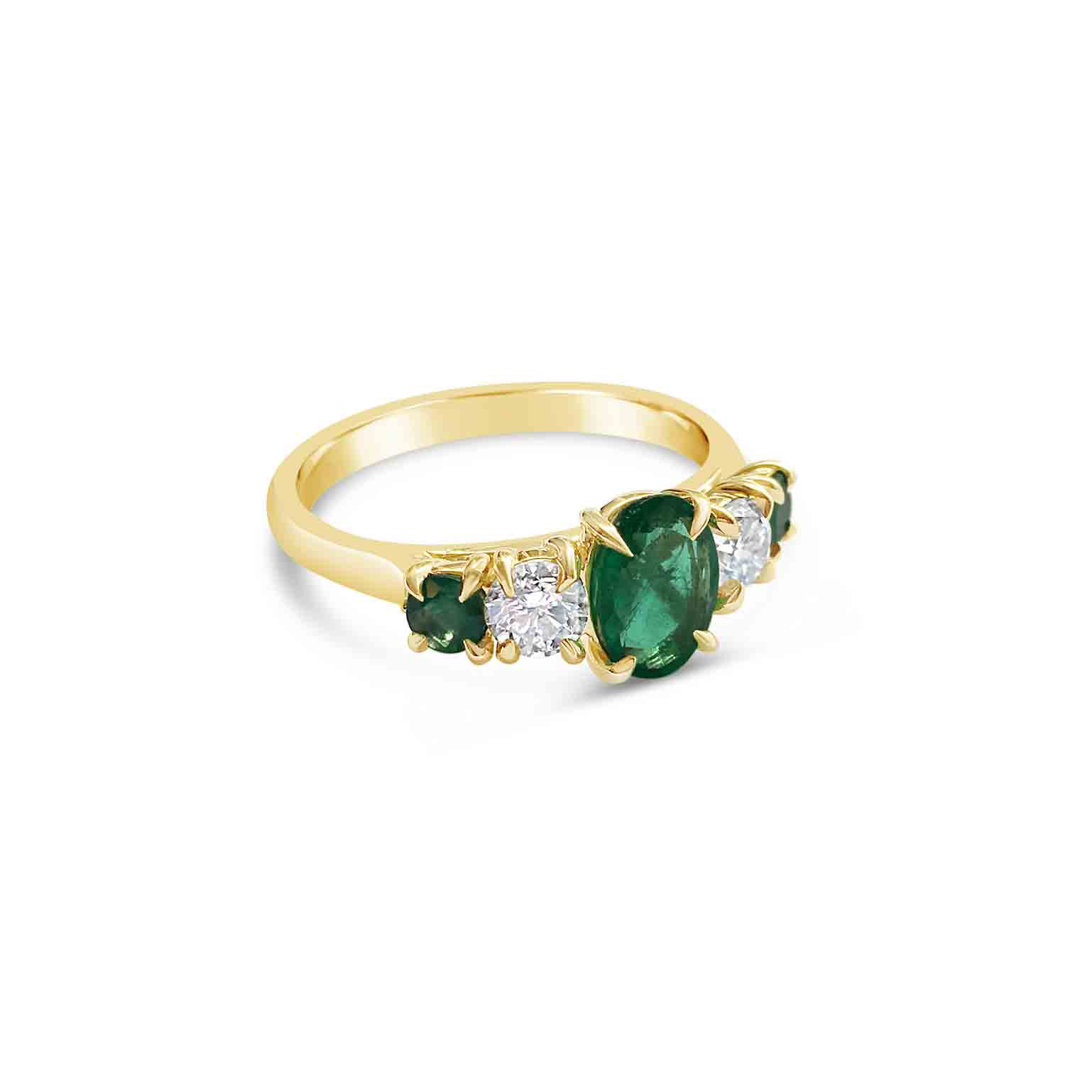 Bespoke emerald and diamond claw-set five-stone ring, mounted in 18ct yellow gold