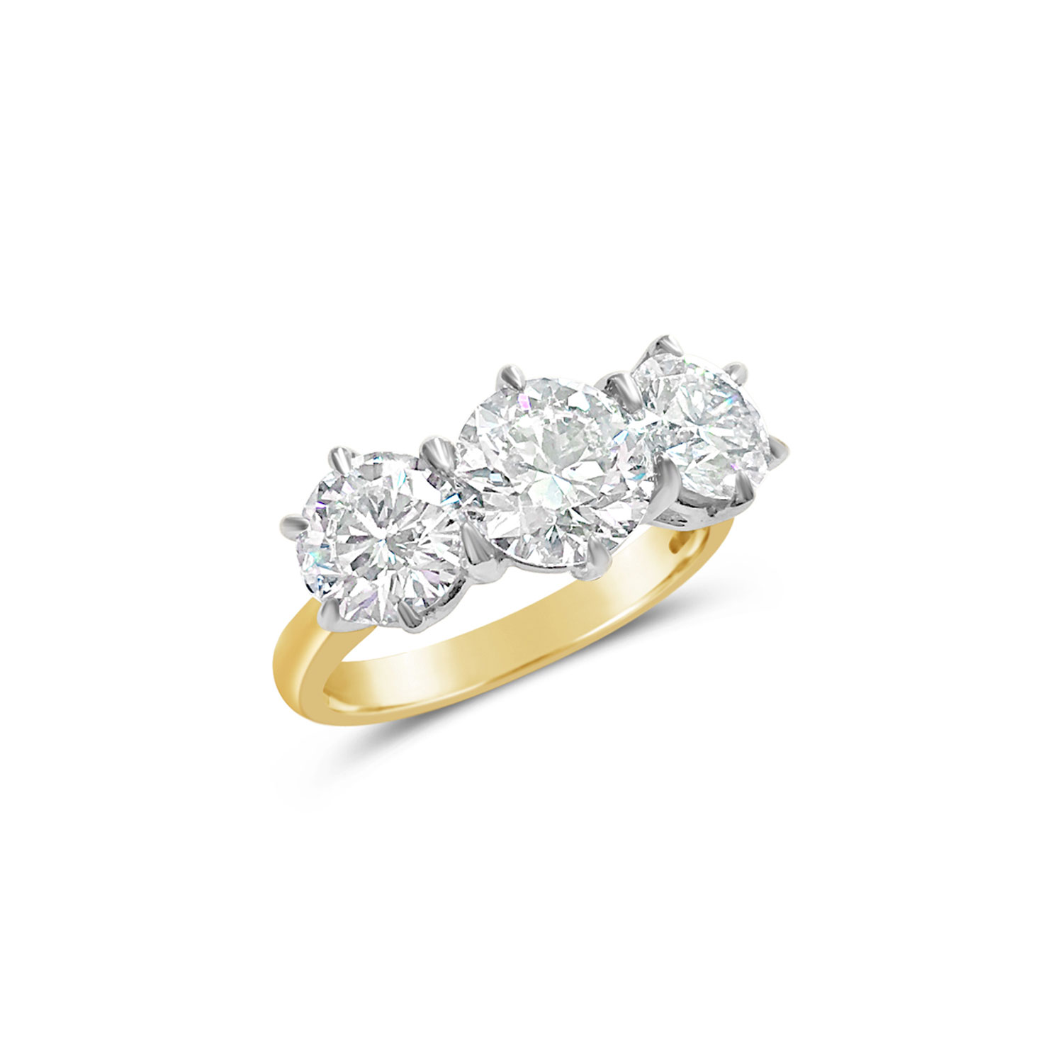Brilliant-cut diamond three-stone claw-set ring in 18ct white and yellow gold