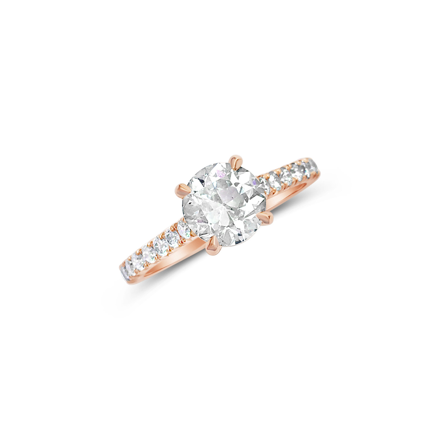 Bespoke diamond solitaire ring with four talon-shaped claws and diamond  fishtail half-set band, mounted in 18ct rose gold top