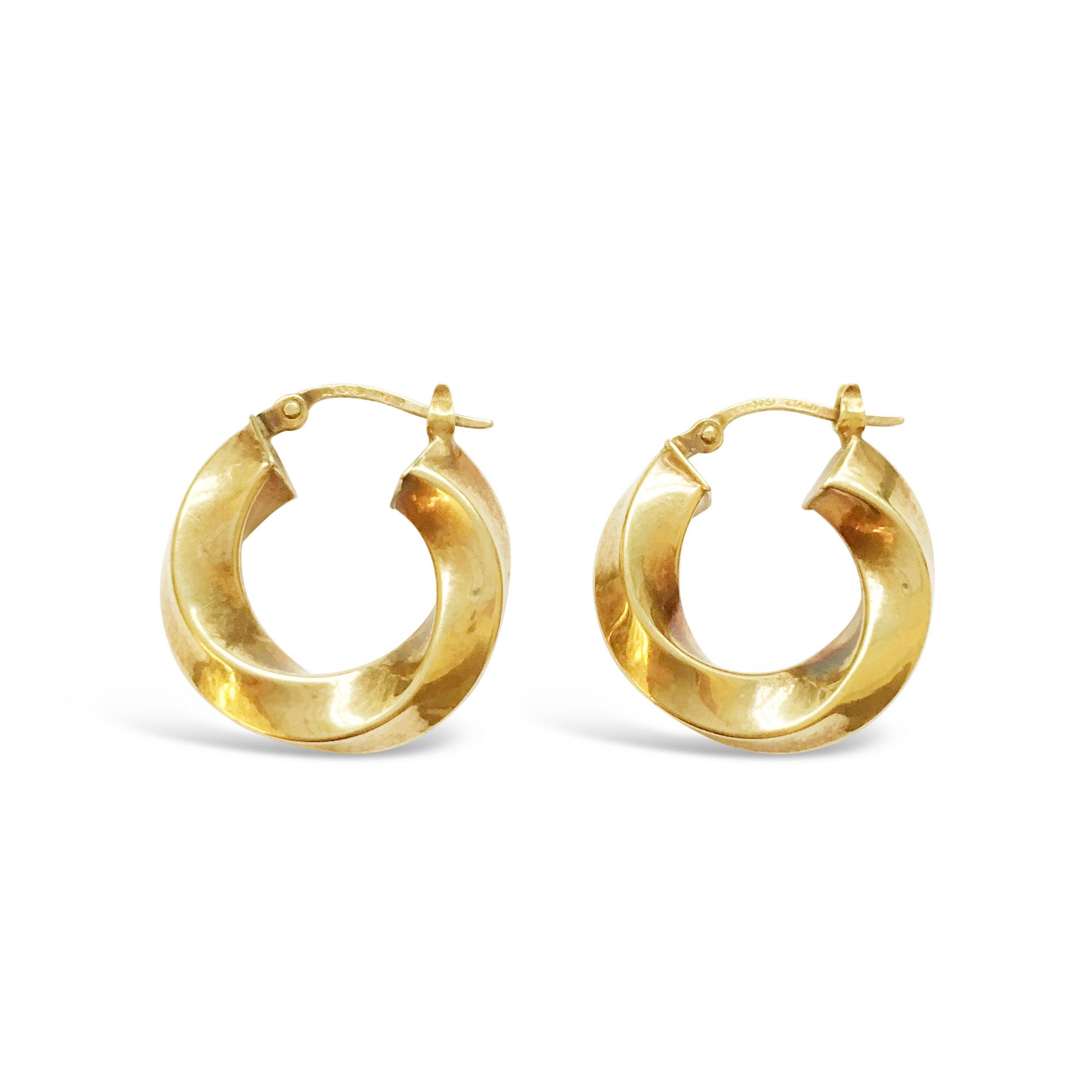 VINTAGEYELLOW GOLD TWIST HOOP EARRINGS